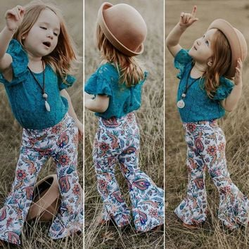 Teal Lace & Floral Bell Bottom Pants Outfit