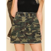 On The Down Low Camo Skirt - Army Green