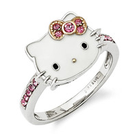 Size 8 Sterling Silver Gold Plated Hello Kitty Ring with Pink Crystals