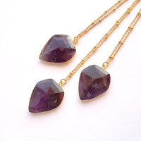 Amethyst Necklace Faceted Amethyst Diamond Shape Necklace Geometric Amethyst Jewelry Layering Jewelry Gemstone Necklace February Birthstone