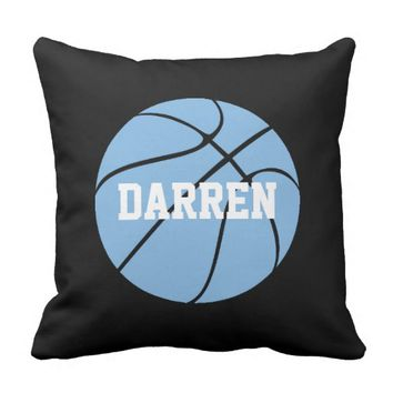 Carolina Blue Basketball Custom Throw Pillow