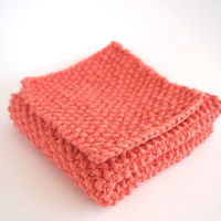 hand knit peach pink cotton washcloth and scrubber set