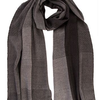 Potenza-Soft Wool Scarf-Gray and Black