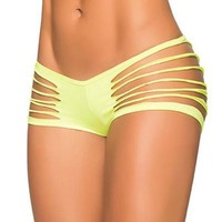 Neon Yellow Wet Look Slashed Bottoms
