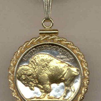 Gorgeous 2-Toned Gold on Silver U.S. Buffalo nickel Necklaces