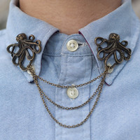 Bronze Octopus Collar Clip Collar Chain