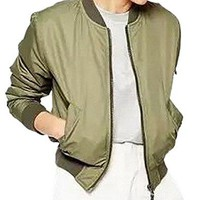 Women's Fashion Padded Bomber Zip Up Biker Short Jacket Outfit Army Green