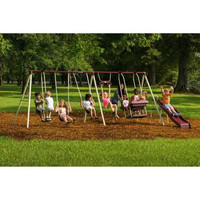 Toddlers Playground Metal Swing Set Slide Outdoor Play Kids Backyard Swingset Playset