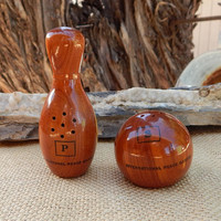 Wood Bowling Ball and Pin Salt and Pepper Shakers Souvenir From International Peace Garden  ~  Bowling Pin and Ball Salt and Pepper Shakers