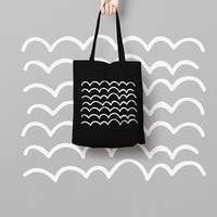 Geometric Black Tote Bag Hand Drawn - Canvas Tote Bag - Printed Tote Bag - Market Bag - Cotton Tote Bag - Large Canvas Tote - Funny Tote Bag