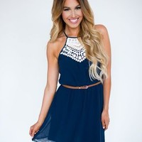 Navy Crochet Top Belted Dress