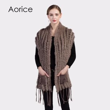 VKR004  Women real Rex rabbit Fur Shawl Cape Stole Wrap Poncho natural fur knit coat jackets open stitch khaki color