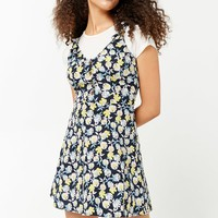 Floral Print Button-Front Dress