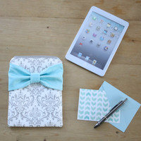 iPad Mini, Kindle, Nook, Samsung, eReader Case - Gray and White Damask with Light Aqua Bow - Padded - Sized to Fit Any Brand eReader
