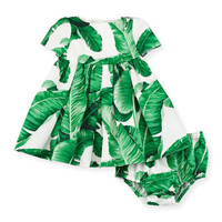 Dolce & Gabbana Short-Sleeve Poplin Banana Leaf Dress, White/Green, Size 3-24 Months