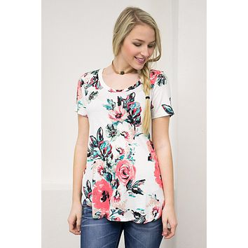 Fitted Floral Top | Ivory
