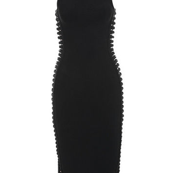 Clothing : Bandage Dresses : 'Martinique' Black Side Weave Bandage Dress