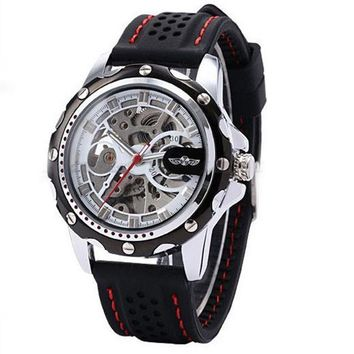 Men Skeleton Wrist Watches Automatic Winding Mechanical Movement Watch