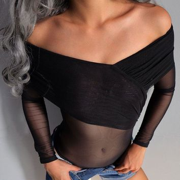 Long Sleeve Sexy See Through Slim Tops [225420935183]