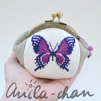 Butterfly purse, violet butterfly, cross stitched coin purse, butterfly lovers gift with metal frame