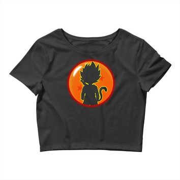 Kid Goku Saiyan With Dragon Ball 4 Star Crop Top