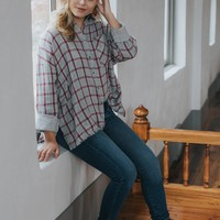On The Move Oversized Plaid Shirt, Grey/Red