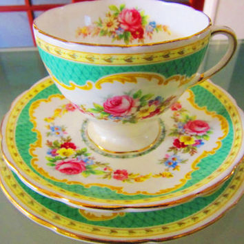 Vintage Foley China Trio Set ~ Windsor ~ Teacup/Saucer/Side Plate