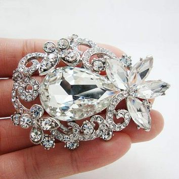 TTjewelry Bride Wedding Flower Bouquet Bridesmaid Brooch Pin Pendant Clear Rhinestone Crystal