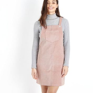 Petite Mid Pink Corduroy Pinafore Dress | New Look