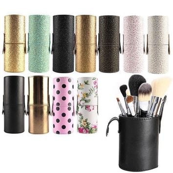 CREYONJ Travel Leather Makeup Brush Pen Storage Empty Holder Cosmetic Cup Case Box