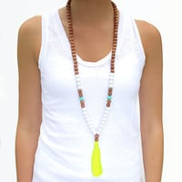 Boho Tassel Necklace - Aqua & Neon Yellow