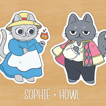Howl & Sophie Cat Sticker Pack // Howl's Moving Castle, Calcifer, Studio Ghibli, anime, cute stationery, planner, matte vinyl, kawaii