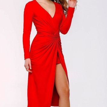 Jovani - 36226 Long Sleeve Ruched High Low Dress