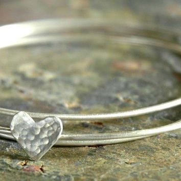 HAVE A HEART Sterling Silver Bangles by sophiapip on Etsy