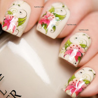 Nail Wraps Nail Art Nail Decals Water Transfers Pink Flower Stargazer Lily Salon Quality YD714