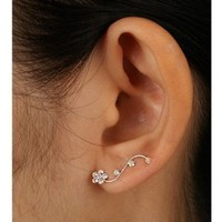 925 Sterling Silver Clear Swarovski Crystal Flower Vine Design Cuff Earrings