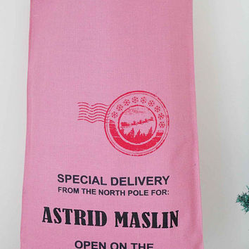 Personalized colored Christmas sack, Hessian,burlap ,xmas stocking, Hand Screen Printed