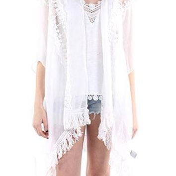 Poncho Lace Trim Fringe Sheer Woven