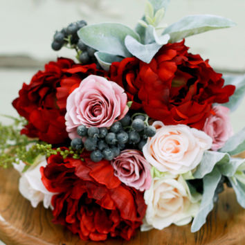 Marsala and Peony Silk Wedding Bouquet with Blush Peony, Roses, and Berries - Silk Bouquet
