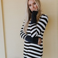 Anytime Striped Tunic Top - Navy Blue