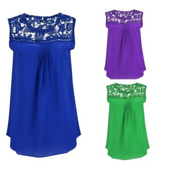 Womans New Summer Plus Size Water Soluble Lace Stitching Hollow Chiffon Vest  [6269747908]
