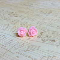 Light Pastel Pink Flower Post Earrings