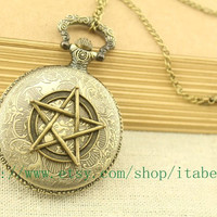 the antique supernatural pocket watch jewelry vintage style steampunk necklace bridesmaid personalized gift