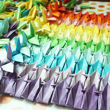 1000 PCS Cranes Crafts Customized for Wedding Origami Christmas Ornament Bird Paper Goods Crane --- 10 x 10cm Mixed Color