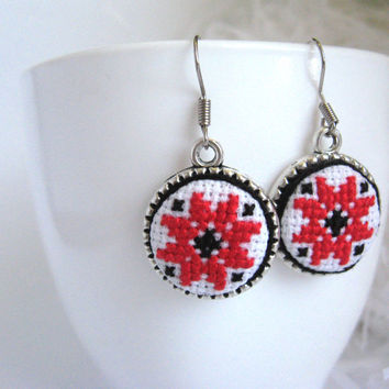 Textile ethnic jewelry. Ukrainian cross stitch round dangle earrings. Red and black abstract embroidery. FREE SHIPPING WORLDWIDE! E2.