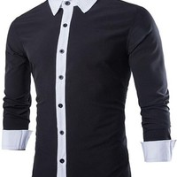 jeansian Men's Fashion Slim Fit Stitching Long Sleeves Dress Shirts Tops 8733