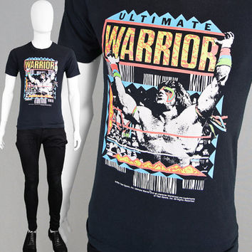 Super Rare Vintage 1990 Ultimate Warrior T Shirt WWE Wrestling Shirt wwf Wrestling Pro Wrestling Retro Sportswear Wrestlemania Graphic Print