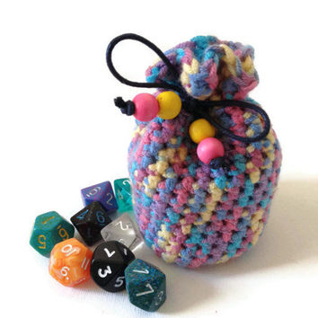 Small Dice Bag, Crochet Coin Purse, Multicoloured Rainbow Pouch, Knitted Yarn Bag, Rainbow colours, Rainbow Counter Bag