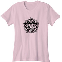 Pentagram Wiccan Pagan Moon Phases Witchy Star Woman's T-Shirt
