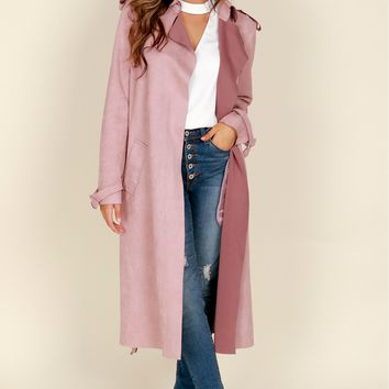 Suede Trench Coat Mauve